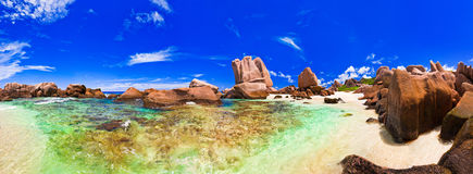 Panorama of tropical beach at Seychelles Royalty Free Stock Images
