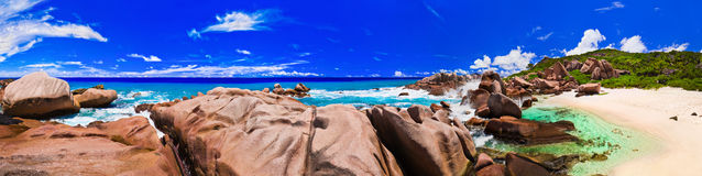 Panorama of tropical beach at Seychelles Stock Images