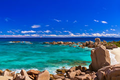 Panorama of tropical beach at Seychelles Stock Photo