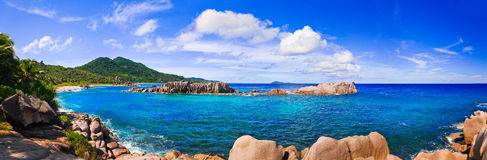 Panorama of tropical beach at Seychelles Stock Photos