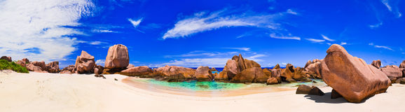 Panorama of tropical beach at Seychelles Royalty Free Stock Photos