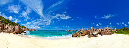 Panorama of tropical beach at Seychelles Royalty Free Stock Photography