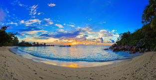 Panorama of tropical beach at sunset. Nature background Stock Photography