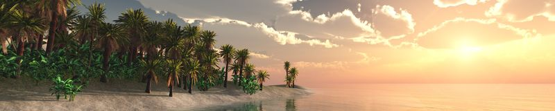 Panorama of tropical beach. sunset at sea. Royalty Free Stock Photos