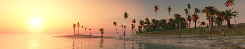 Panorama of tropical beach. sunset at sea. Royalty Free Stock Image