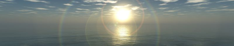Panorama of tropical beach. sunset at sea. Royalty Free Stock Photography