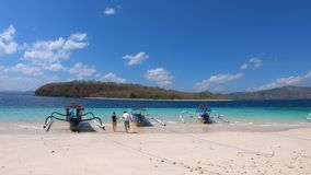 Panorama Tropical Beach with traditional boats stock video