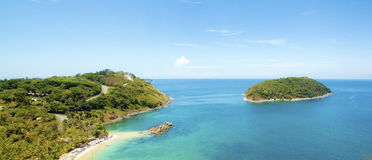Panorama of Tropical beach view point, Royalty Free Stock Photos