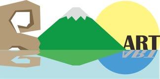 panorama tropical da ilha da montanha da paisagem ilustração do vetor