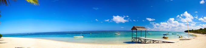 Panorama tropical da praia da areia imagem de stock
