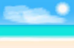 Panorama tropical da praia Ilustração do fundo do vetor Imagens de Stock