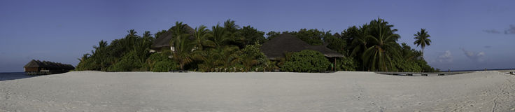 Panorama of tropical island Mirihi, Maldives Royalty Free Stock Photos