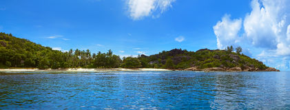 Panorama of tropical island at Seychelles Royalty Free Stock Photos