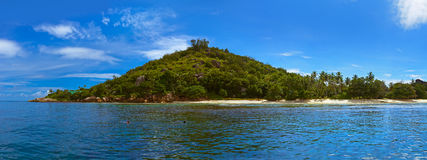 Panorama of tropical island at Seychelles Stock Images