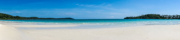 Panorama of the tropical sandy beach of Koh Kood, Thailand sea Royalty Free Stock Photography
