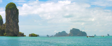 Panorama of tropical sea and rocks. Thailand Stock Images