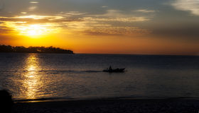 Panorama of tropical sunset Royalty Free Stock Images