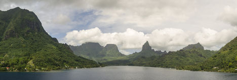 Panorama tropicale di Moorea Fotografie Stock Libere da Diritti