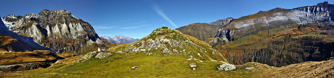 Panorama of Troumouse circus in French Pyrenees Royalty Free Stock Image