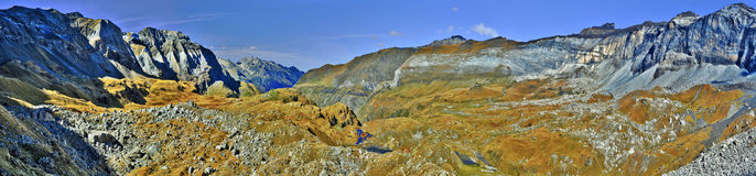 Panorama of Troumouse circus in French Pyrenees Royalty Free Stock Photo