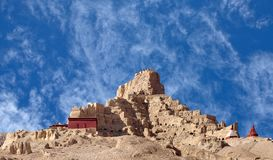 Panorama of Tsaparang palace in Guge Kingdom, Tibet royalty free stock image
