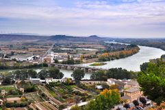 Panorama Tudela, Spanien Stockbild