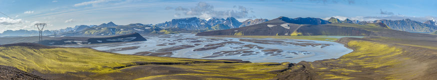 Panorama of Tungnaa river, Landmannalaugar, Iceland Stock Photos