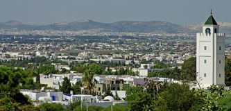 panorama- tunis för stad sikt Arkivfoto