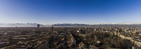 Panorama of Turin, with the Alps in the backround, Turin, Italy. Panorama of Turin, with the Alps in the backround and a hot air baloon, Turin, Italy Royalty Free Stock Photography
