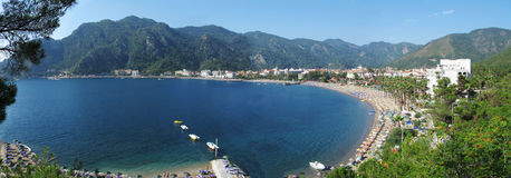 Panorama of turkish marmaris resort aegean sea royalty free stock photos
