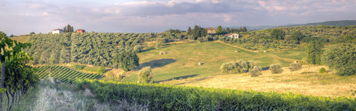 Panorama of a Tuscan sunset landscape3 Stock Images
