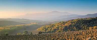 Panorama of Tuscany at dawn Stock Photo