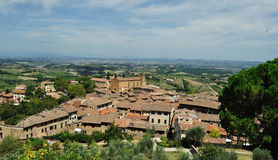 Panorama of Tuscany and the roofs of San Gimignano Royalty Free Stock Photos