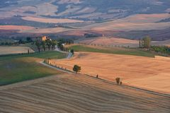 Panorama of Tuscany at sunset, Pienza Royalty Free Stock Images