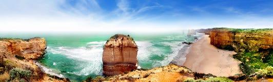 Panorama of Twelve apostles, Australia. A wide view of  Twelve apostles, Great Ocean road, Victoria, Australia Stock Image