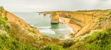Panorama of the twelve apostles on the Great Ocean Road in Victoria stock photos