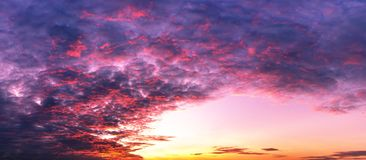 Background of sky twilight and colorful clouds panorama scene. Panorama twilght sky and clouds coloring with sun light colorful morning or evening scene stock photo