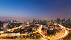 Panorama of twilight city downtown highway interchanged Royalty Free Stock Photography