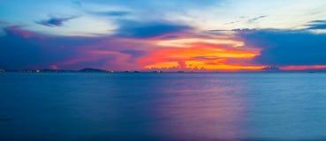 Panorama Twilight sky background. Colorful Sunset sky and cloud. Panorama vivid sky in twilight time background. panorama Fiery orange sunset sky. Beautiful Stock Photo