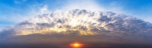 Panorama sky and sunrise or sunset scence cloudscape. Panorama twilight sky and cloudy sunrise or sunset scence cloudscape Royalty Free Stock Photography