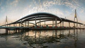 Panorama of Twin Bangkok Suspension Bridge river front view Stock Image