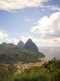 Panorama twin Pitons Soufriere St. Lucia Royalty Free Stock Image