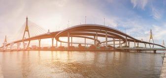 Panorama Twin suspension bridge connect with highway overpass. Bangkok Thailand landmark Stock Photo