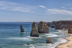 Panorama with the Two Apostles on the Great Ocean Road stock images