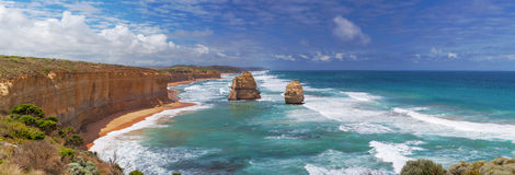Panorama of two of the Twelve Apostles rocks on  Great Ocean Roa Stock Image