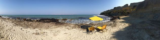 Yellow Chairs And Parasol On Tropical Island Panorama royalty free stock photography