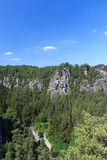 Panorama with typical rock formations at Bastei and Rathen Open Air Stage, Saxon Switzerland Royalty Free Stock Photo