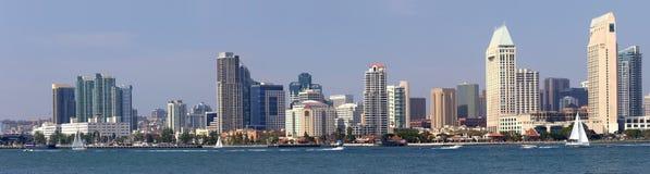 Panorama-Ufergegendskyline Sans Diego California. Stockbild