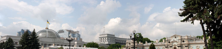 Panorama of ukrainian goverment places. Royalty Free Stock Photos