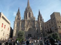 Panorama. Uma catedral. Barcelona Fotografia de Stock Royalty Free